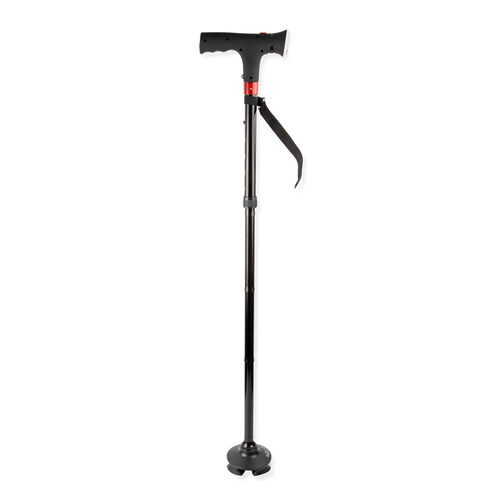TheraWell Adjustable Walking Cane with Light and Alarm,  (Size 86 to 96 Cm)- Plain Black