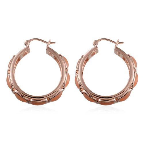 Mitiyagoda Peach Moonstone (Cush) Hoop Earrings in Rose Gold Overlay Sterling Silver 24.500 Ct.