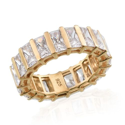 J Francis - 14K Gold Overlay Sterling Silver (Bgt) Full Eternity Ring Made with SWAROVSKI ZIRCONIA