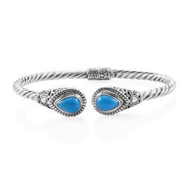 Royal Bali Collection Arizona Sleeping Beauty Turquoise (Pear) Bangle (Size 7.5) in Sterling Silver 3.350 Ct. Silver wt 19.33 Gms.