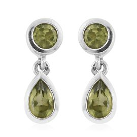 Hebei Peridot 1.40 Carat Silver Earrings (with Push Back) in Platinum Overlay