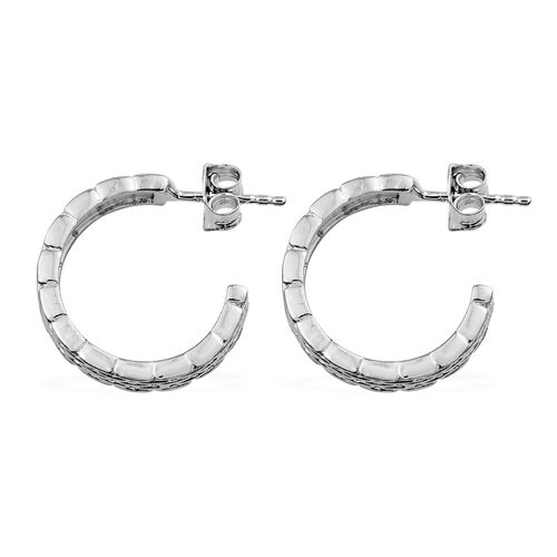Designer Inspired - Platinum Overlay Sterling Silver J Hoop Earrings (with Push Back).Silver Wt 5.16 Gms