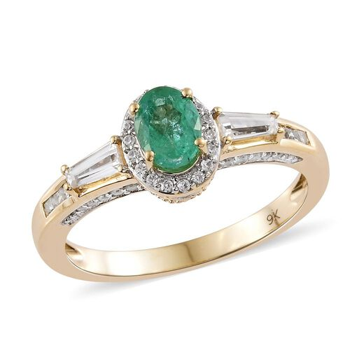 9K Yellow Gold Boyaca Colombian Emerald (Ovl), Natural Cambodian Zircon Ring 1.850 Ct.Gold Wt 3.80 Gms.