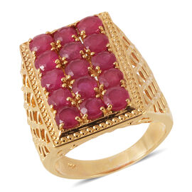 African Ruby (5.75 Ct) 14K Gold Overlay Sterling Silver Ring  5.750  Ct.