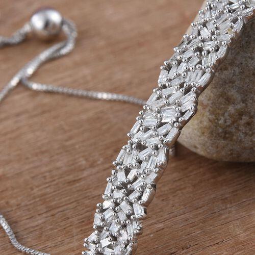 Designer Inspired - Firework Diamond (Bgt) Adjustable Bracelet (Size 6.5 to 7.5) in Platinum Overlay Sterling Silver 0.750 Ct.