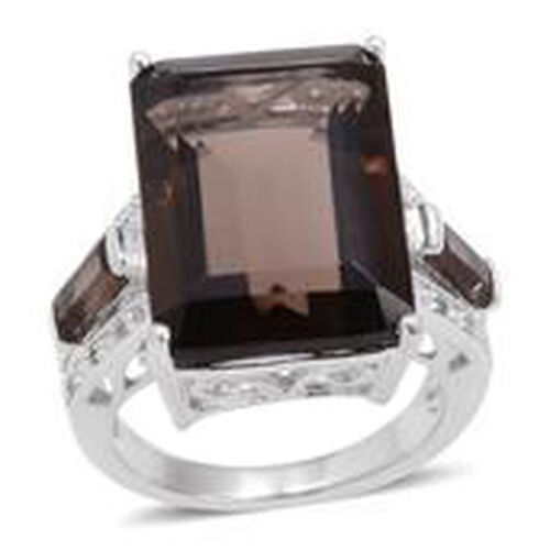 Brazilian Smoky Quartz (Oct 15.20 Ct), White Topaz Ring in Rhodium Plated Sterling Silver 16.004 Ct.