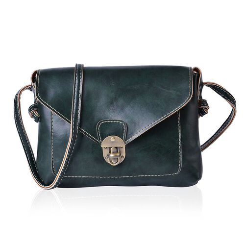 Dark Green Colour Crossbody Bag with Shoulder Strap (Size 22x18.5x4 Cm)