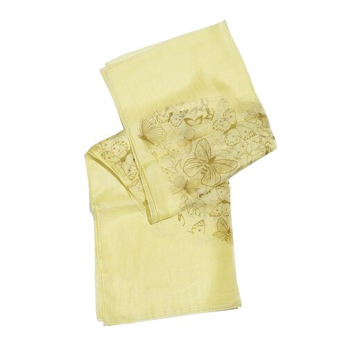 100% Mulberry Silk Yellow Colour Butterfly Hand Screen Printed Scarf (Size 180X100 Cm)