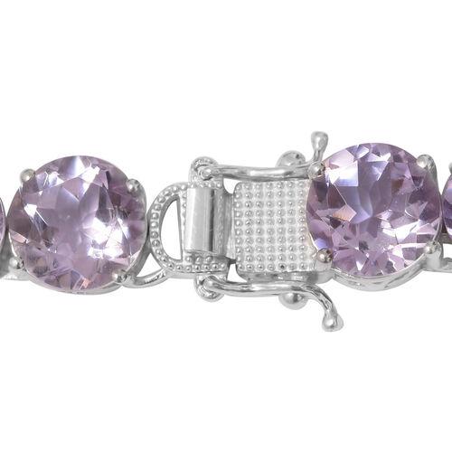 Rose De France Amethyst (Rnd) Necklace (Size 18) in Platinum Overlay Sterling Silver 120.000 Ct. Silver wt. 34.83 Gms.