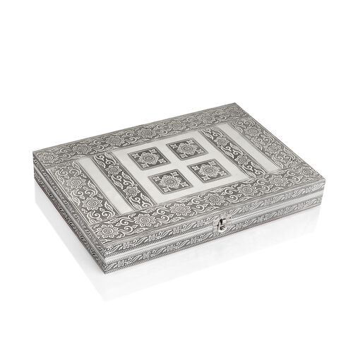 Handcrafted Floral Embossed 80 Slots Ring Box with Red Velvet and Mirror Inside (Size 28X20X5 Cm)