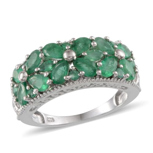 Kagem Zambian Emerald (Pear) Ring in Platinum Overlay Sterling Silver 3.000 Ct.