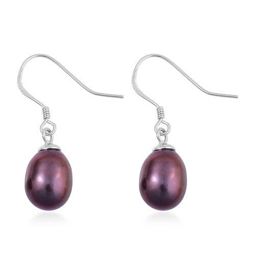 Fresh Water Purple Peacock Pearl Drop Hook Earrings in Rhodium Plated Sterling Silver