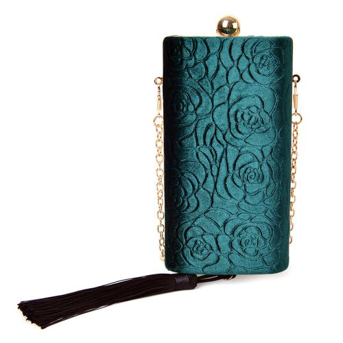Peacock Green Colour Floral Pattern Velvet Clutch Bag with Chain Strap in Gold Tone (Size 16X8.5X5.5 Cm)