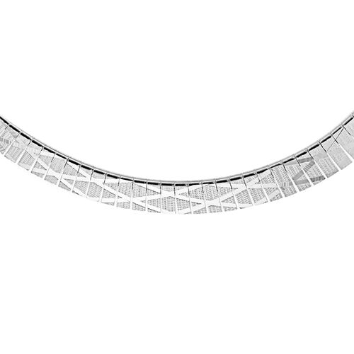 Vicenza Collection Sterling Silver Cleopatra Diamond Necklace (Size 17), Silver wt 25.30 Gms.