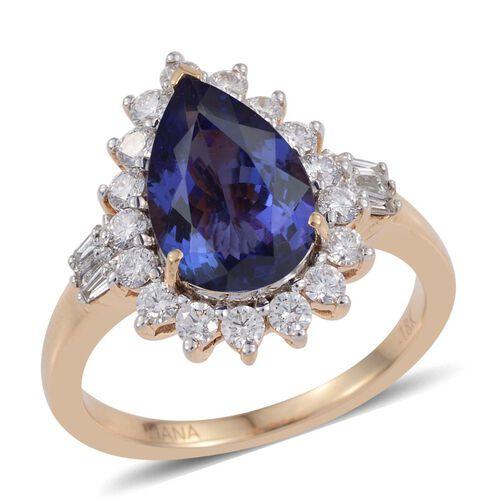 ILIANA 18K Yellow Gold AAA Tanzanite (Pear 3.60 Ct), Diamond (SI G-H) Ring 4.500 Ct.