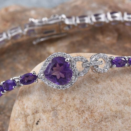 GP Amethyst (Hrt 1.35 Ct), Natural Cambodian Zircon and Kanchanaburi Blue Sapphire Bracelet (Size 7.5) in Platinum Overlay Sterling Silver 9.250 Ct.