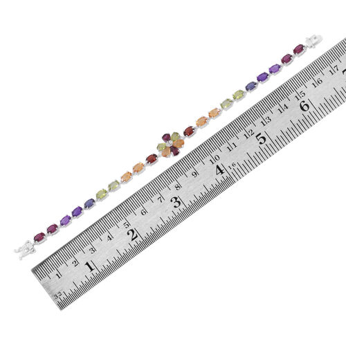 Multi GemStones (Ovl), White Topaz Floral Bracelet (Size 7) in Rhodium Plated Sterling Silver 13.000 Ct.