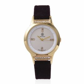 STRADA Japanese Movement White Austrian Crystal Studded Water Resistant Watch in Gold Tone with Black Velvet Strap