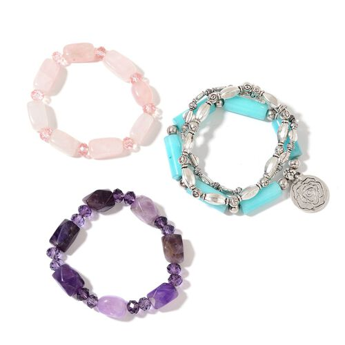 Set of 3 - Blue Quartzite, Amethyst, Rose Quartz, Simulated Iolite and Simulated Pink Sapphire Stretchable Bracelet (Size 7) in Silver Tone 596.00 Ct.