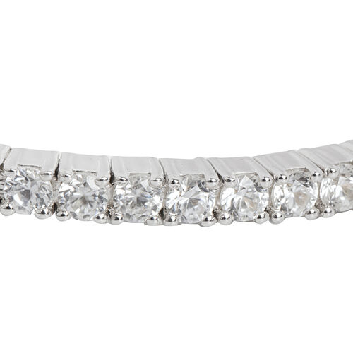 2.42 Ct Natural Cambodian Zircon Bangle in Platinum Plated Silver 14.90 gms 6.25 Inch