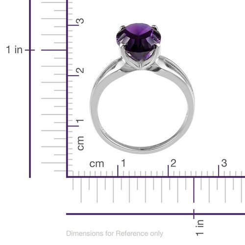 Amethyst (Ovl) Solitaire Ring in Platinum Overlay Sterling Silver 5.250 Ct.