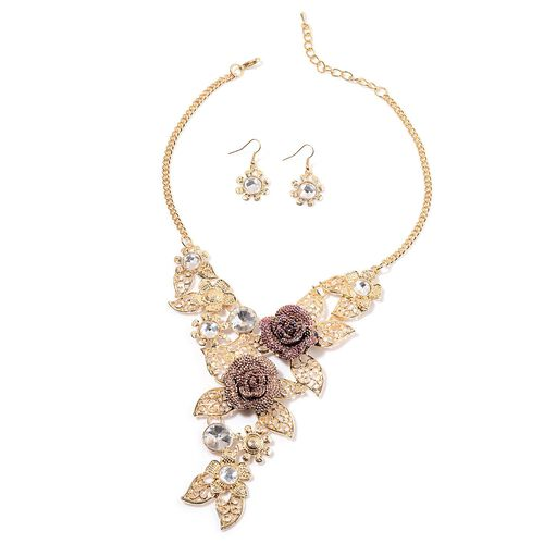Simulated White Diamond Floral Necklace (Size 18) and Hook Earrings in Gold Tone with Simulated Stone