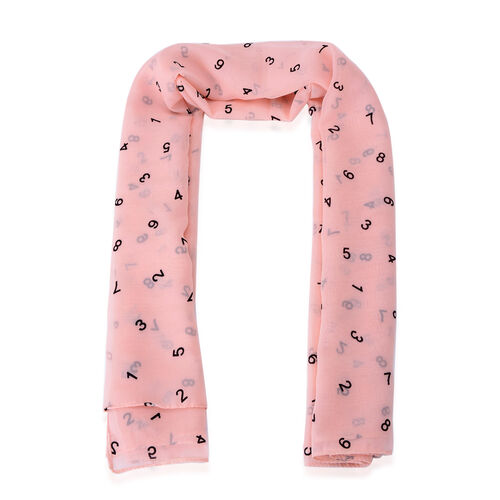 Black Colour Numbers Printed Peach Colour Scarf (Size 95x95 Cm)