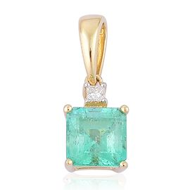 ILIANA 18K Yellow Gold 0.78 Ct AAA Boyaca Colombian Emerald Octagon Pendant with Diamond SI G-H