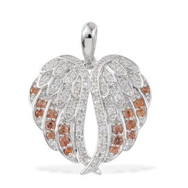 2.55 Ct Orange Sapphire and Natural Cambodian Zircon Angel Wings Pendant in Platinum Plated Silver 5.30 gms