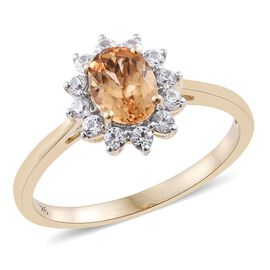Super Auction- 9K Y Gold AAA Imperial Topaz (Ovl 1.40 Ct), Natural Cambodian Zircon Ring 2.000 Ct.