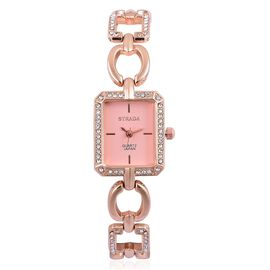 STRADA Japanese Movement Rose Dial with White Austrian Crystal Water Resistant Watch in Rose Gold Tone