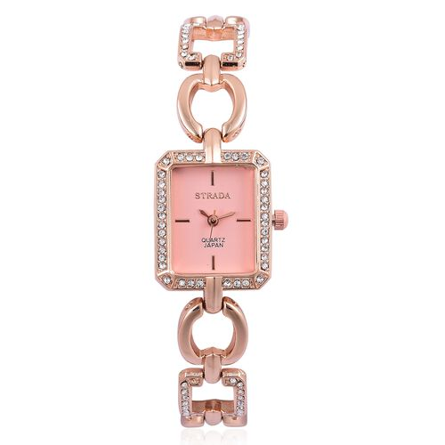 STRADA Japanese Movement Rose Gold Tone Watch with Austrian Crystal
