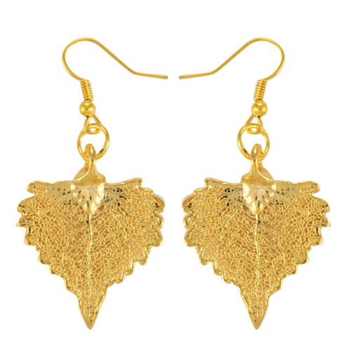 Real Real Cottonwood Leaf Hook Earrings Dipped in 24K Yellow Gold