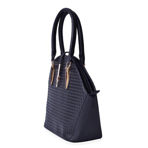 Diamond Pattern Black Colour Tote Bag (Size 39x29.5x14 Cm)