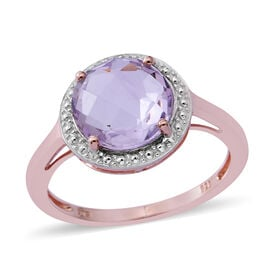 CHECKERBOARD CUT Birthday Mega Deal- Rose De France Amethyst (Rnd) Solitaire Ring in Rose Gold Overlay Sterling Silver 3.150 Ct.