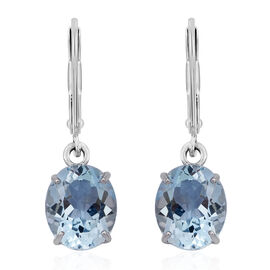 AAA Swiss Blue Topaz (Ovl) Lever Back Earrings in Rhodium Plated Sterling Silver 11.500 Ct.