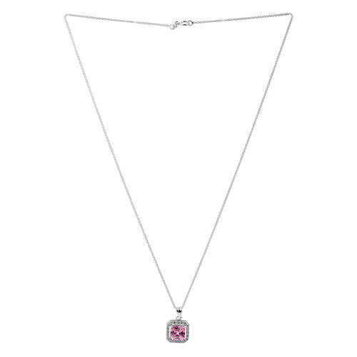ELANZA AAA Simulated Pink Sapphire (Sqr), Simulated Diamond Pendant With Chain in Rhodium Plated Sterling Silver