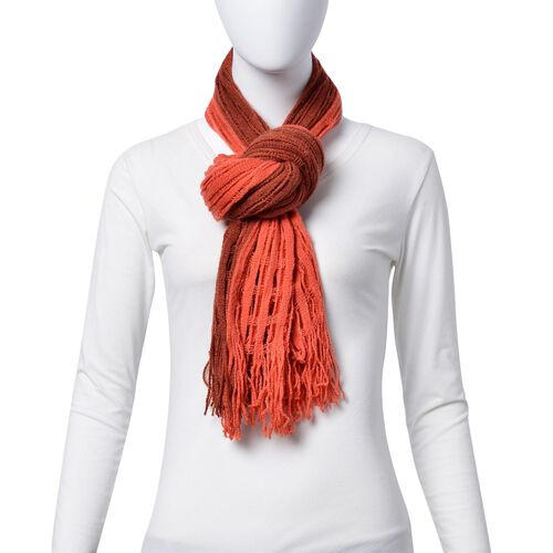Designer Inspired Double Layered Chocolate and Orange Colour Scarf (Size 160x20 Cm)