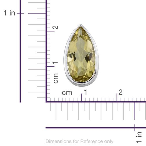 Natural Ouro Verde Quartz (Pear) Solitaire Pendant in Platinum Overlay Sterling Silver 3.750 Ct.