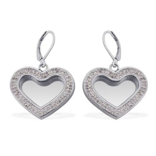 Glass, White Austrian Crystal Heart Lever Back Earrings in Stainless Steel