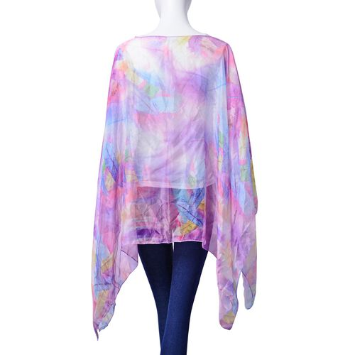 Multi Colour Feather Pattern Purple Colour Poncho (Size 135x70 Cm)