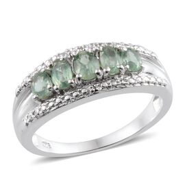 Orissa Green Kyanite (Ovl), Diamond Ring in Platinum Overlay Sterling Silver 1.410 Ct.