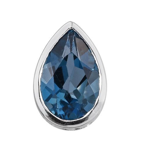 London Blue Topaz (Pear) Solitaire Pendant in Sterling Silver 1.500 Ct.