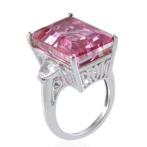 Kunzite Colour Quartz (Oct 19.00 Ct), White Topaz Ring in Platinum Overlay Sterling Silver 20.000 Ct.