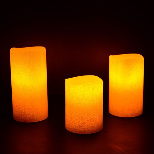 Set of 3 - Red Colour Flameless Glitter Wax Candles with a Remote Control (Size 7.6x15/ 7.6x12/ 7.6x10 Cm)