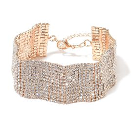 Designer Inspired - AAA White Austrian Crystal Wavy Bracelet (Size 7.5 with 2 inch Extender) in Yellow Gold Tone