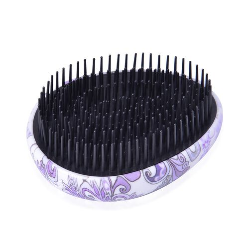 Set of 2 - Black, Purple and Multi Colour Floral Pattern Comb