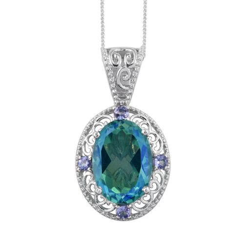 Peacock Quartz (Ovl), Tanzanite Pendant with Chain in Platinum Overlay 6.500 Ct.