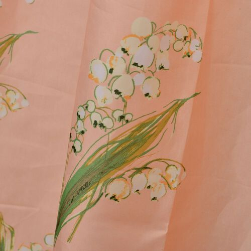 Peach, Green and Multi Colour Flower Printed Peach Colour Waterproof Shower Curtain with 12 Plastic Hooks (Size 180x180 Cm)
