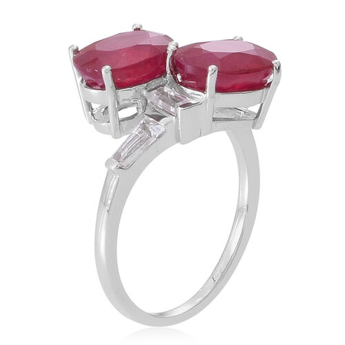 African Ruby (Ovl), White Topaz Crossover Ring in Rhodium Plated Sterling Silver 6.000 Ct.